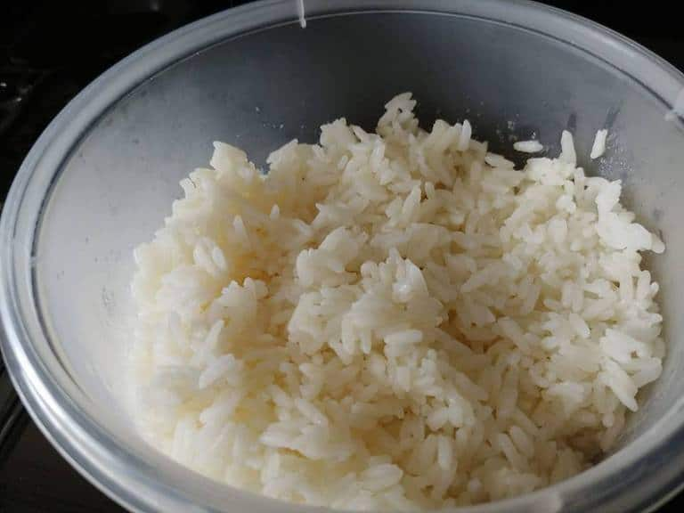 closeup of white instant pot rice in a bowl