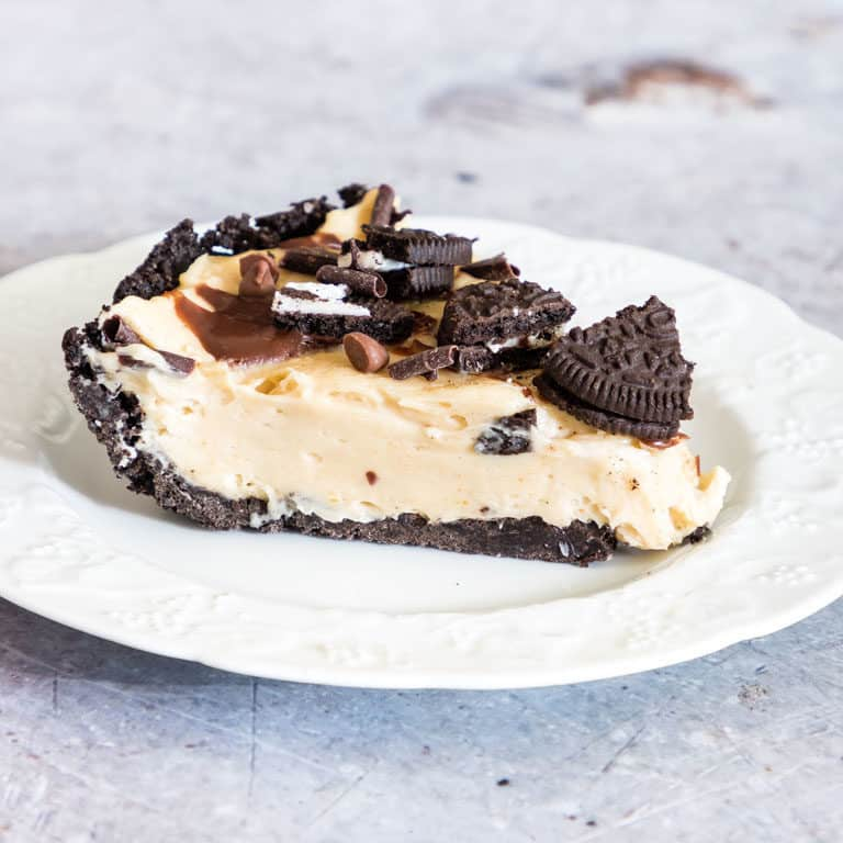 a slice of no bake peanut butter pie