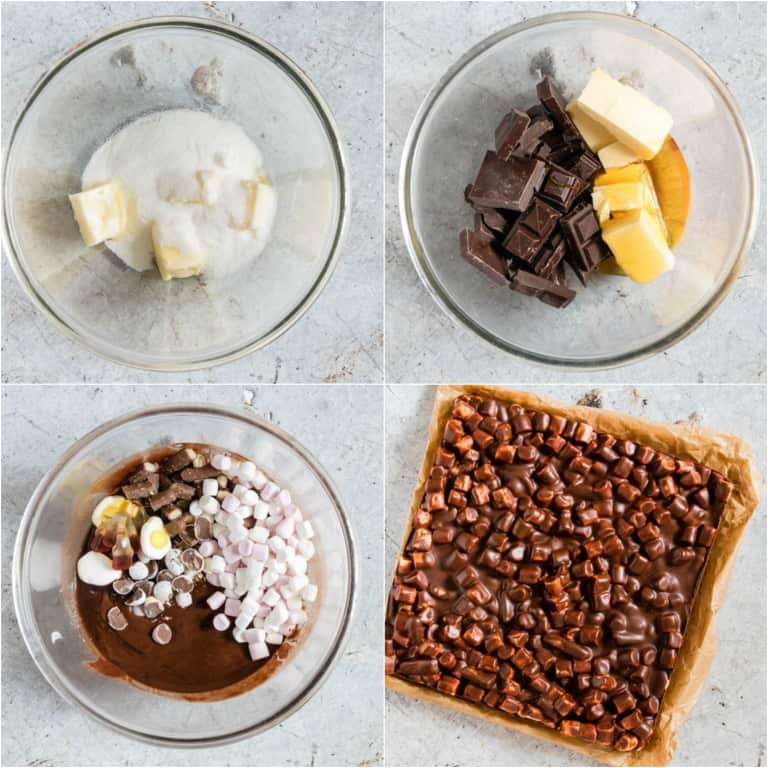 image collage showing the steps for making rocky road