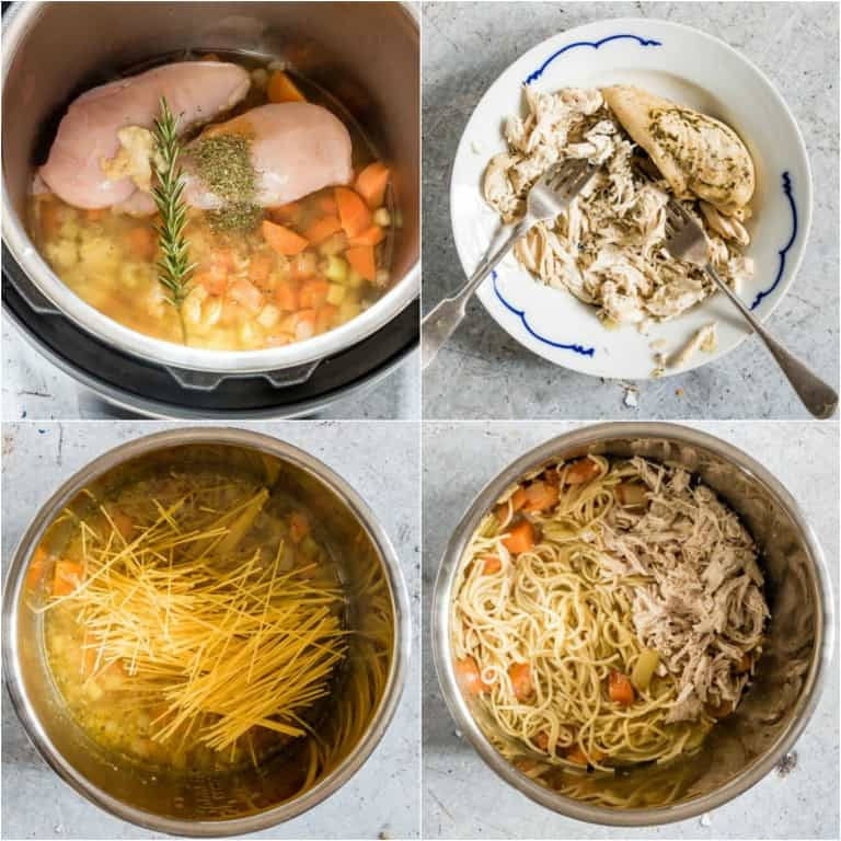 image collage showing the steps for making Instant Pot Chicken Noodle Soup