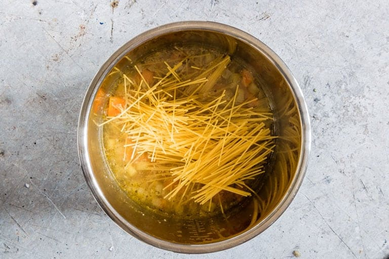 overhead view of instant pot chicken soup with pasta