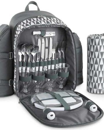 VonShef 4 Person Picnic Backpack Geo Grey