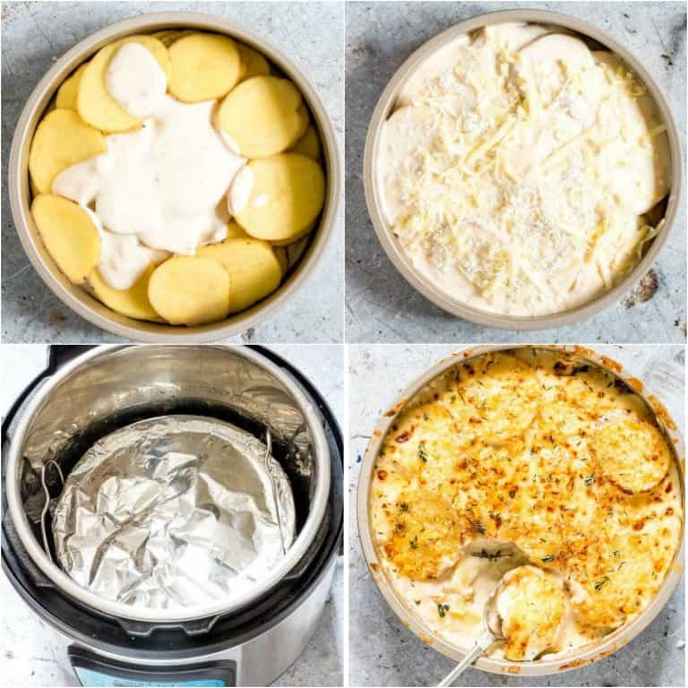 image collage showing the steps for making instant pot scalloped potatoes