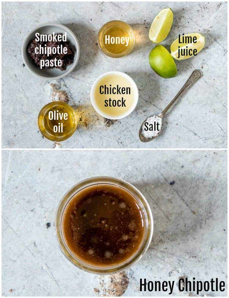 overhead view of honey chipotle chicken marinades with ingredients on top and jar of marinade on bottom