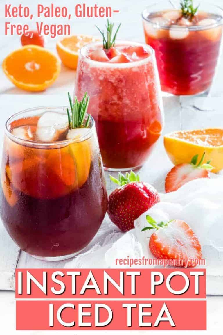 3 glasses of instant pot iced tea with fruit