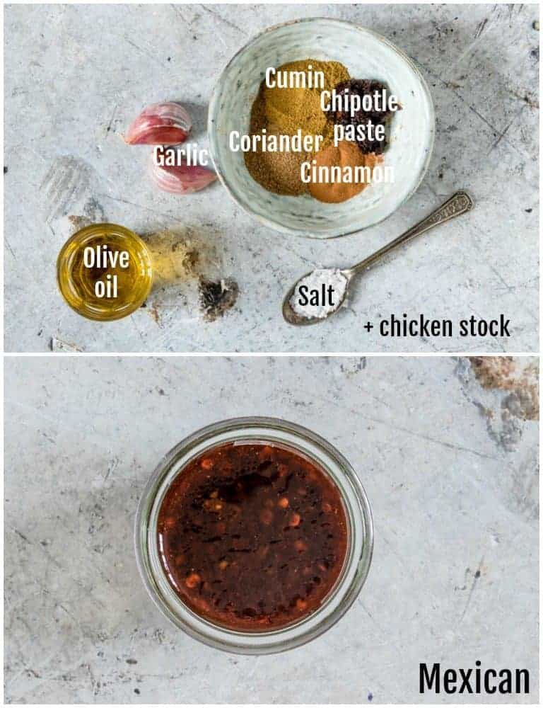 overhead view of mexican chicken marinades with ingredients on top and filled jar on bottom