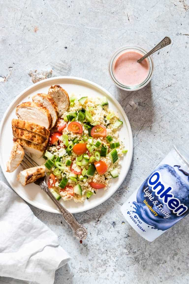 healthy yogurt recipes with chicken on a plate