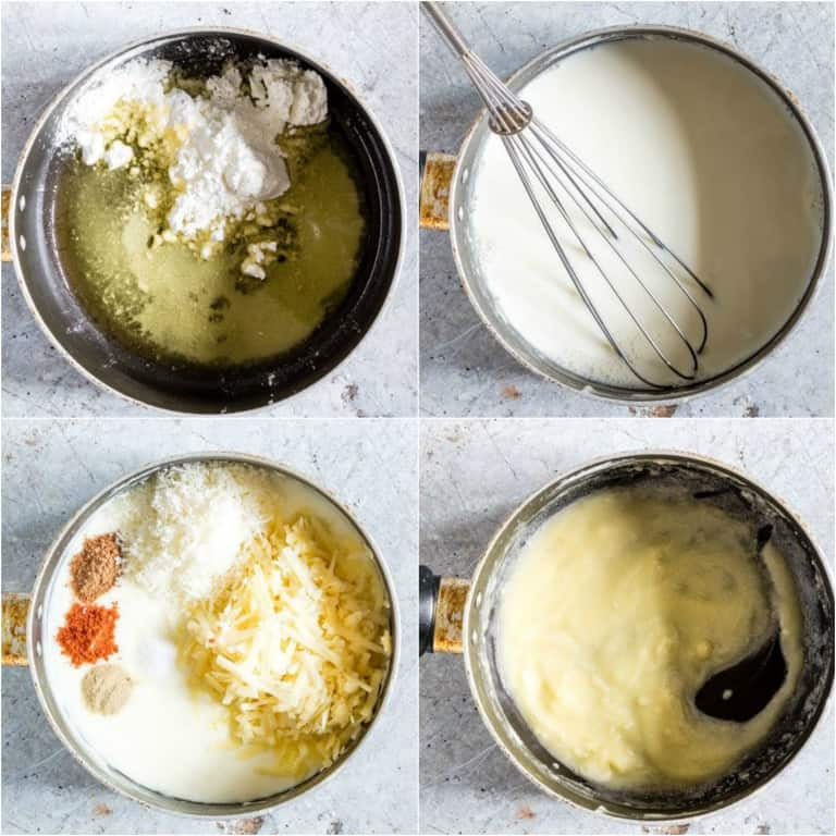 image collage showing the steps for making scalloped potatoes bechamel sauce