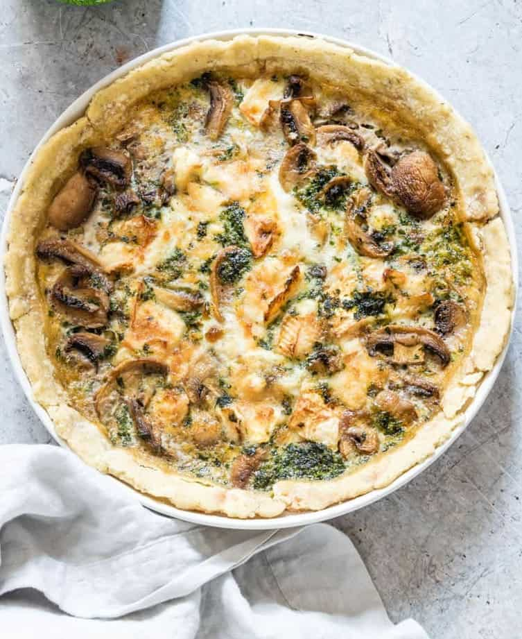 gluten free vegetable quiche with mushrooms and spinach