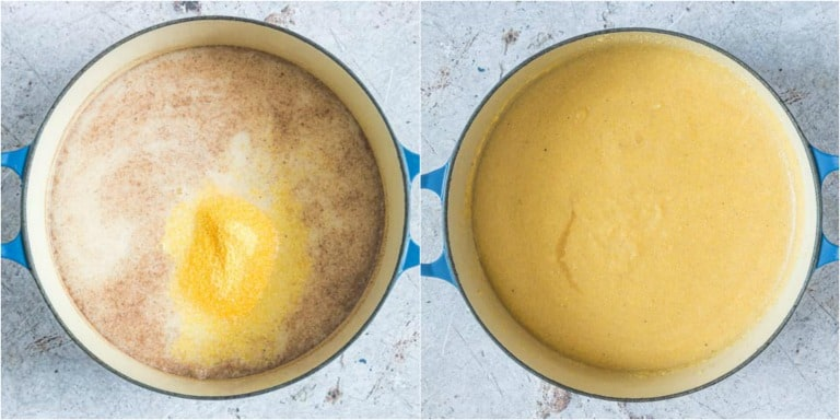 image collage showing how to make cornmeal porridge