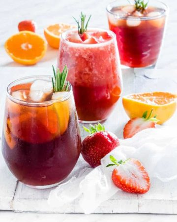 3 glasses of instant pot iced tea on a table with garnishes