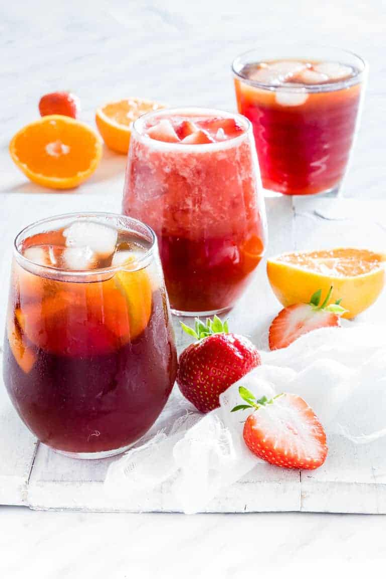 3 glasses of Instant Pot Iced Tea with fruits and garnish