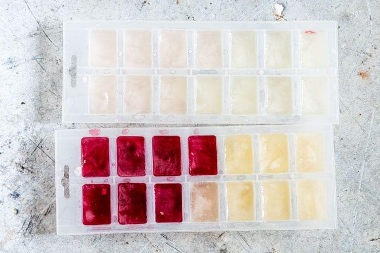 Infused water ice cubes in ice trays