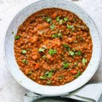 a bowl of instant pot lentils soup