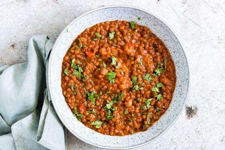landscape of pressure cooker lentil soup