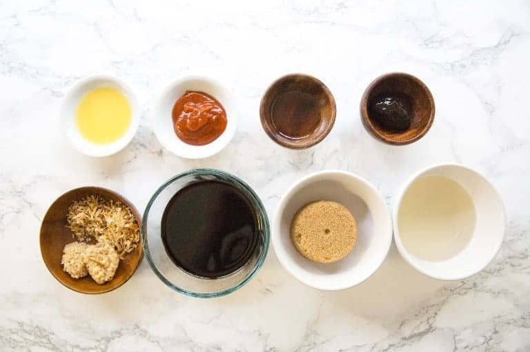 overhead view of instant pot chicken wings teriyaki sauce ingredients in bowls