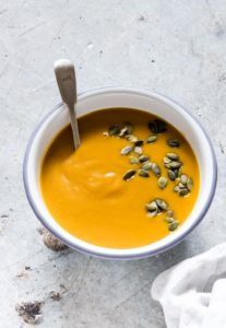 A bowl of instant pot butternut squash soup