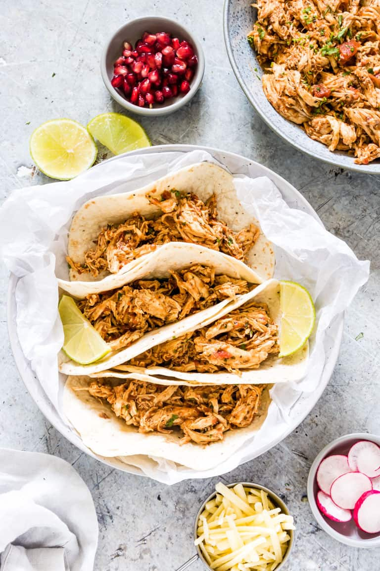assembling instant pot chicken tacos