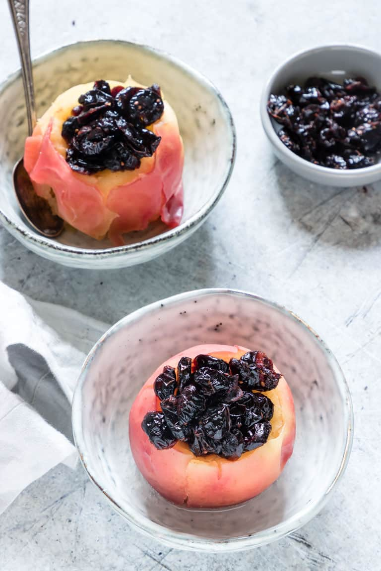 2 instant pot baked apples stuffed with cranberries