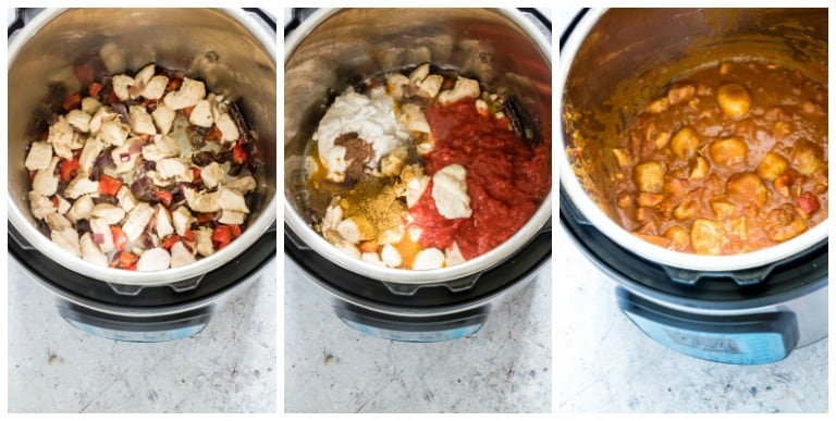 instant pot chicken and dumplings three process shots in instant pot