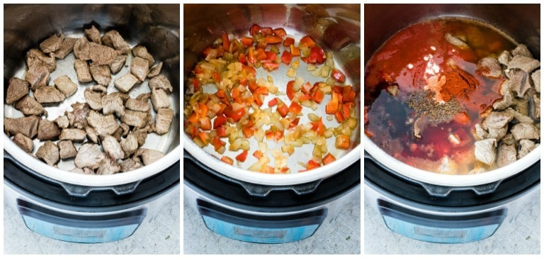 collage of instant pot goulash steps inside of the instant pot