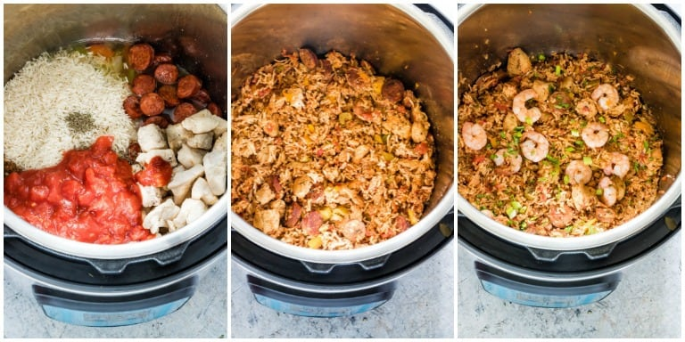 process shots of instant pot jambalaya including raw ingredients