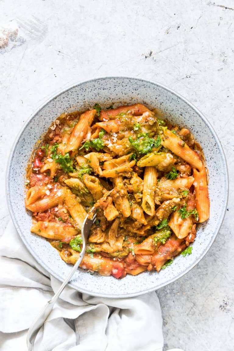 a bowl of instant pot pasta on a table