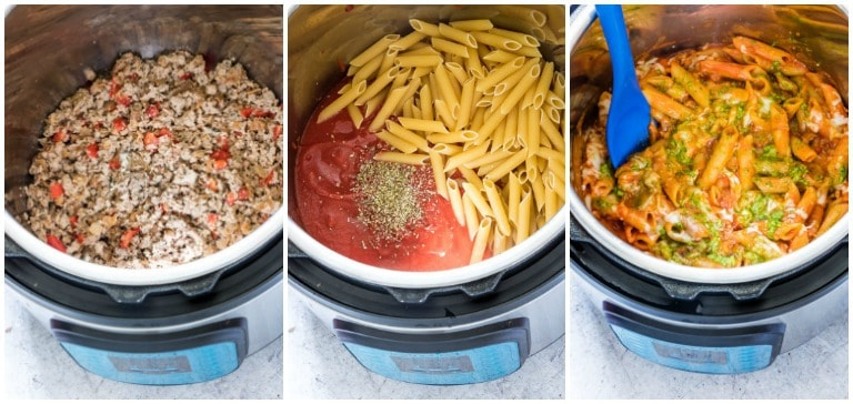 three images showing instant pot pasta process from start to finish