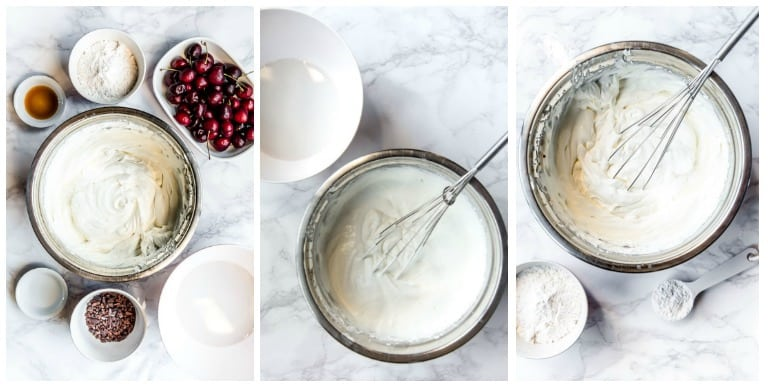 three steps to low carb ice cream including ingredients and whipping cream in bowl