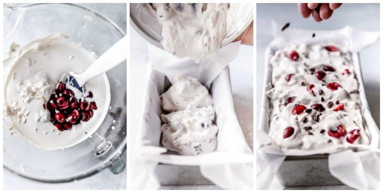 three low carb ice cream process steps including ice cream being poured into bowl