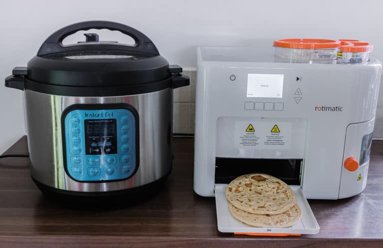 rotimatic and instant pot on a kitchen counter