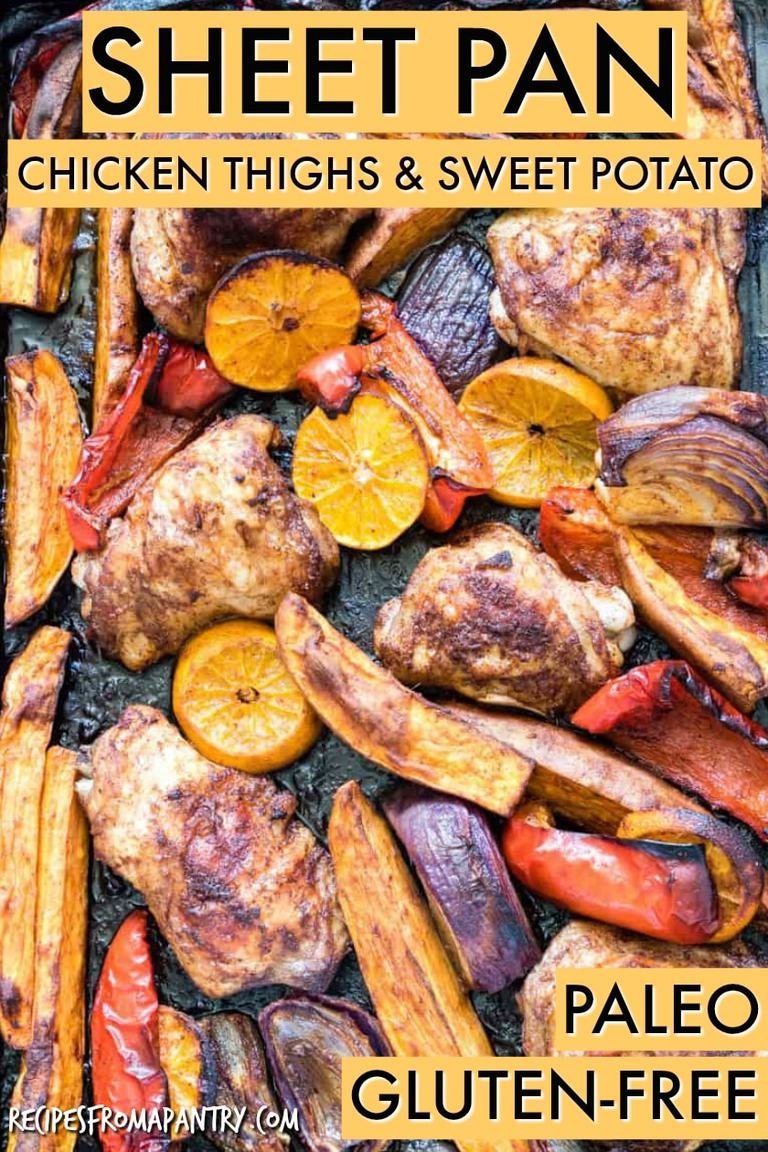 Sheet pan Baked Chicken Thighs and Sweet Potato on a table