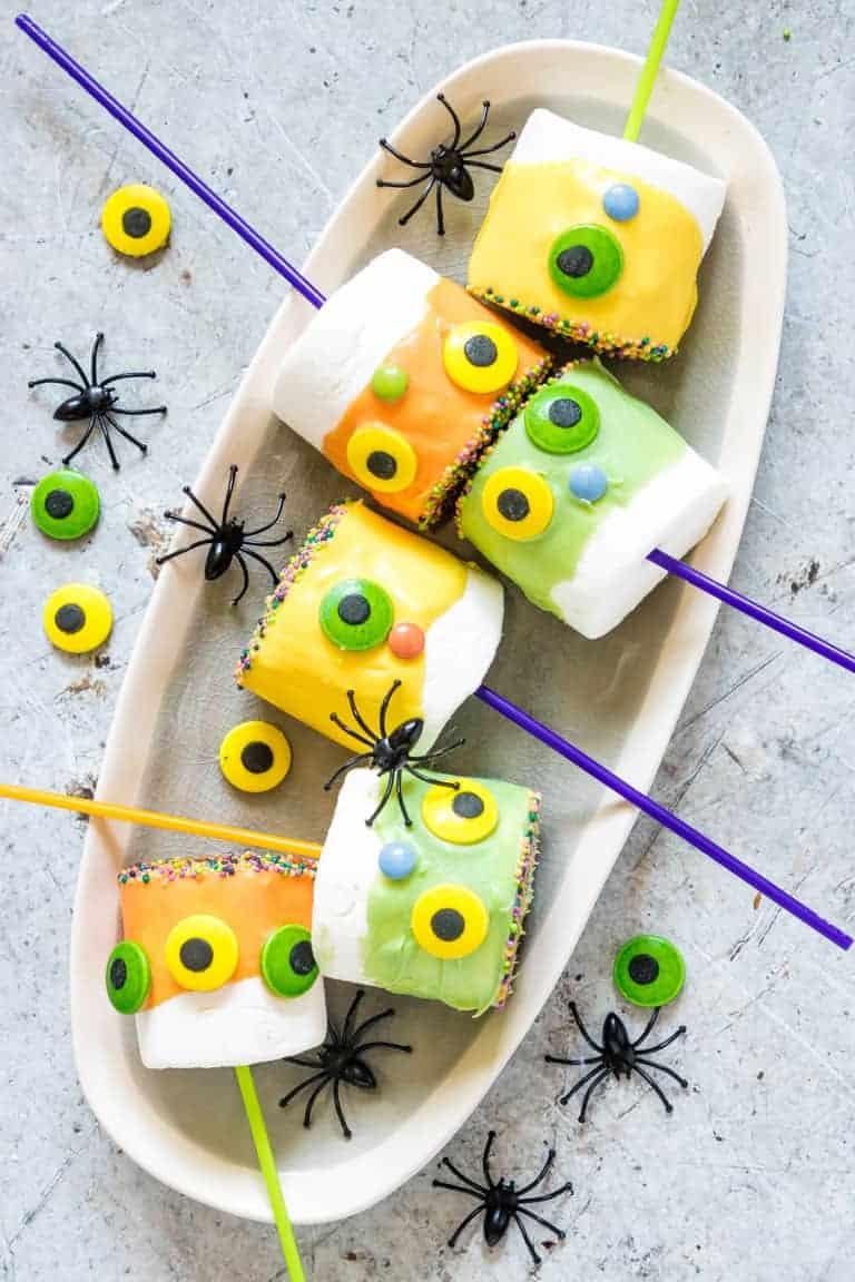 Halloween Marshmallow Pops on a plate Easy Halloween Treats for School