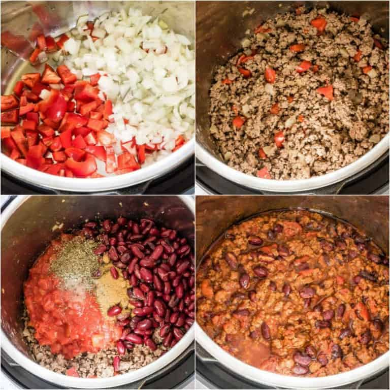 image collage showing the steps for making instant pot chili