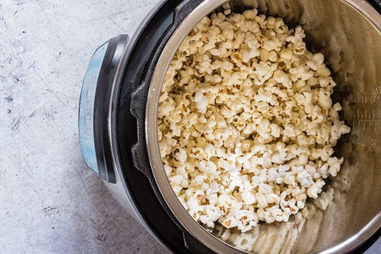 fully popped instant pot popcorn inside the instant pot
