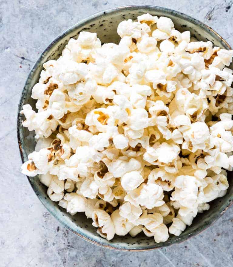 A bowl of Pressure Cooker Pot Popcorn