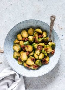 a bowl of instant pot brussels sprouts