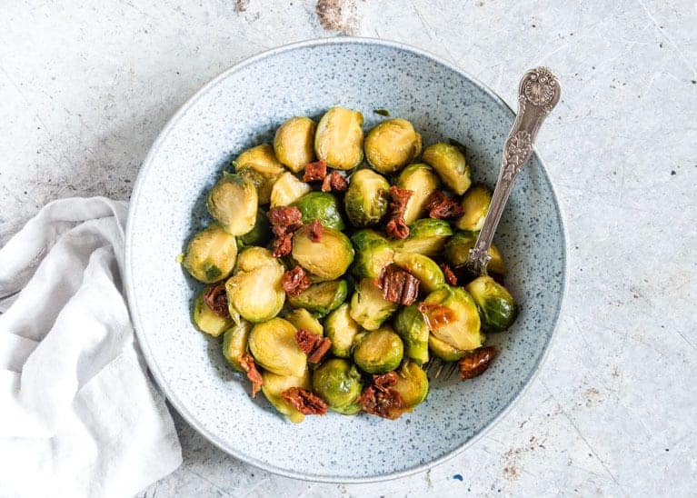 Pressure cooker brussels sprouts in a bowl