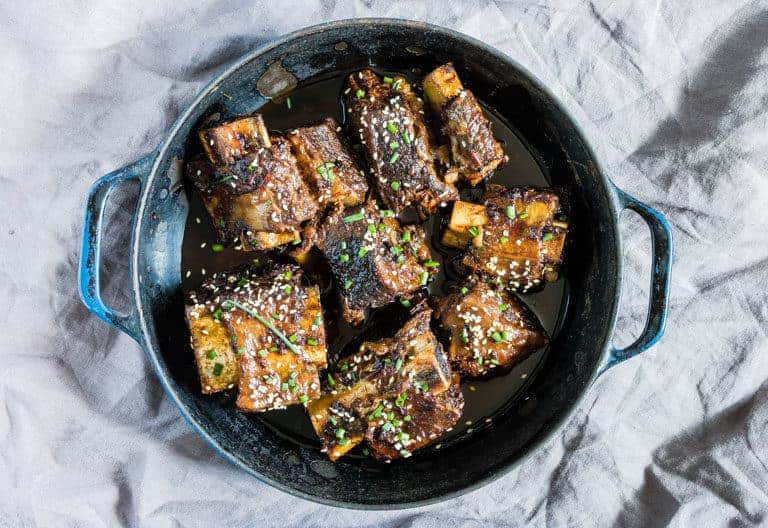 slow cooker korean short ribs in a bowl