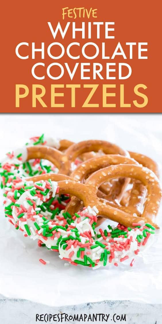 white chocolate christmas pretzels