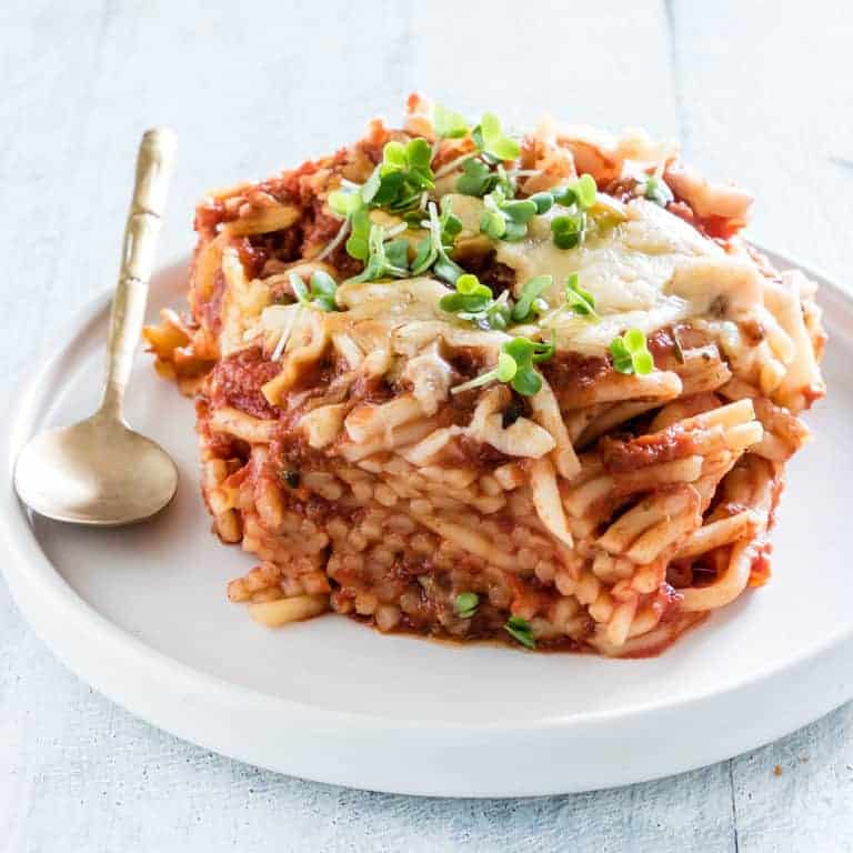 slow cooker spaghetti casserole on a plate