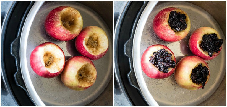 baked apples before and after in the instant pot insert