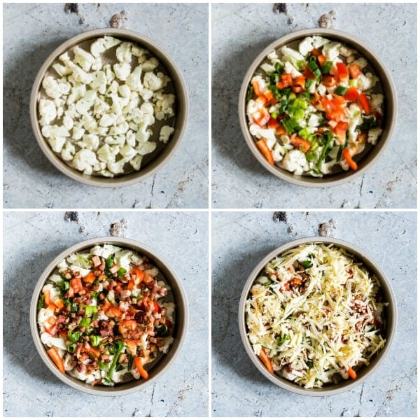 collage of four in process bowls for instant pot breakfast casserole