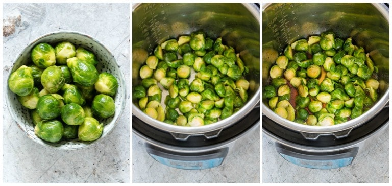 instant pot brussels sprouts step by step process photos in pot