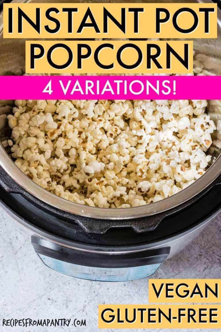 instant pot popcorn in the pot - close up