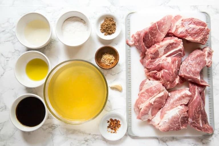 overhead view of instant pot pulled pork ingredients including pork