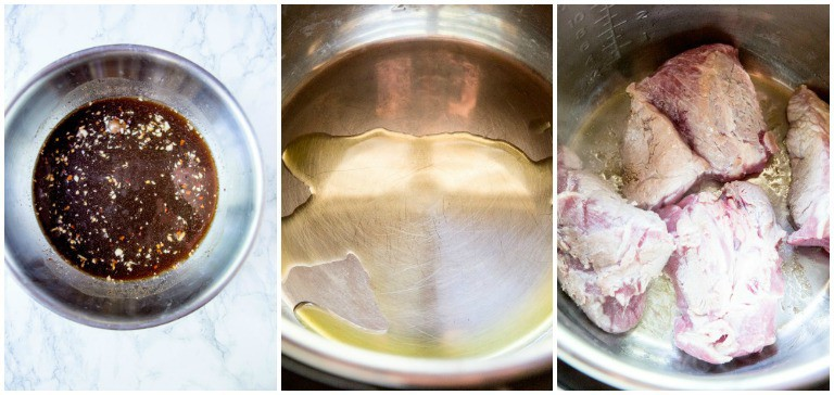 overhead view of instant pot pulled pork process photos including inside instant pot