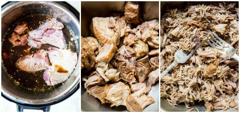 instant pot pulled pork process photos including shredding of pulled pork