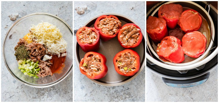instant pot stuffed peppers collage including inside of instant pot