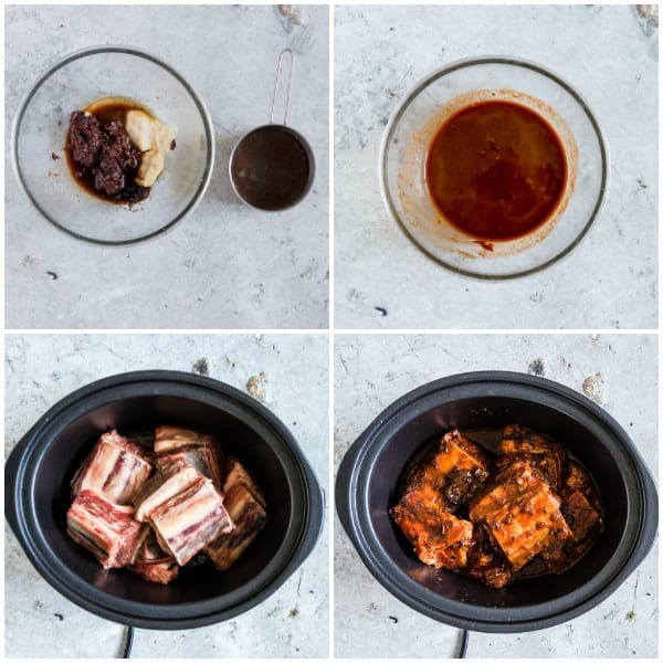 four step by step photos showing how to make slow cooker short ribs